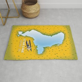 utah lake, Utah Valley map Rug