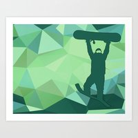 snowboard Art Prints featuring Snowboard by B Remembered Designs