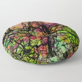 Cracks And Colour - Pastel orange, blue and green abstract with black marble effect Floor Pillow