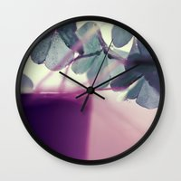 clover Wall Clocks featuring clover by Ingrid Beddoes