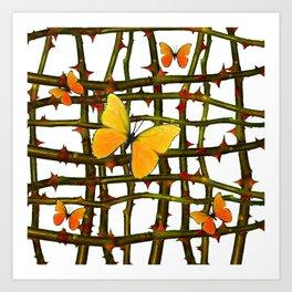 GOLDEN BUTTERFLIES THORN BRANCHES TRELLIS  PATTERN Art Print