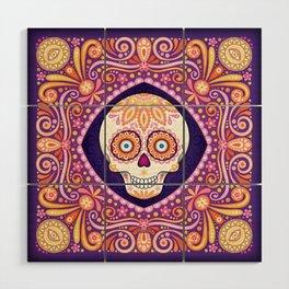 Cute Sugar Skull - Day of the Dead Skull Art by Thaneeya McArdle Wood Wall Art