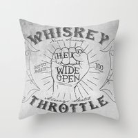 whiskey Throw Pillows featuring Whiskey Throttle  by Kris Petrat Design :  Art Love Moto
