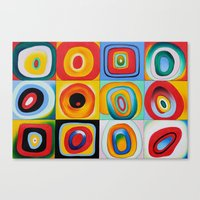 kandinsky Canvas Prints featuring Farbstudie Quardrate by Wassily Kandinsky by designforme