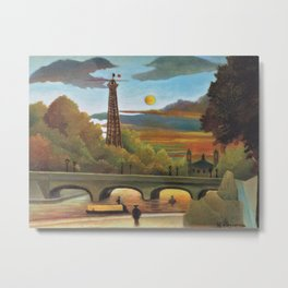 River Seine and Eiffel tower in the sunset by Henri Rousseau Metal Print