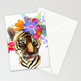 Tiger Cub with Flowers Stationery Cards