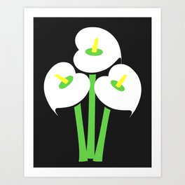 Calla Lily Bouquet (Black) Art Print