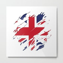 UK FLAG SCRATCH Metal Print