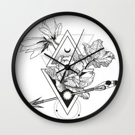 Alchemy symbol with moon and flowers Wall Clock
