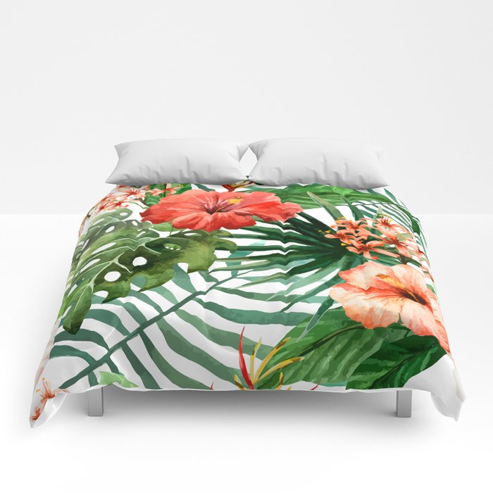 Hibiscus and Palm Leaf Pattern Comforters