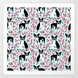 Boston Terrier cherry blossom spring dog breed pet art pet portrait pet friendly design Art Print