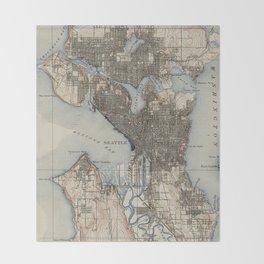 Vintage Map of Seattle Washington (1908) Throw Blanket