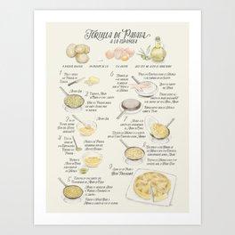Tortilla de patatas recipe in Spanish Art Print