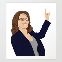 tina fey Art Prints featuring Tina Fey by laurenmakesstuff