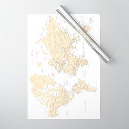 Floral watercolor world map in cream and light brown, Remy Wrapping Paper