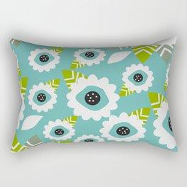Abstract little flowers in blue Rectangular Pillow