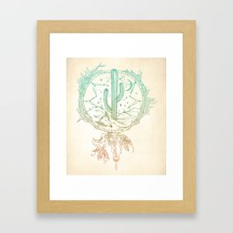 Desert Cactus Dreamcatcher Turquoise Coral Gradient Framed Art Print