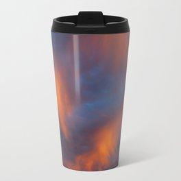 orange light on cirrus clouds and blue sky Travel Mug