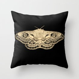Gold moth on black Throw Pillow