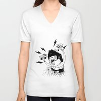 truck V-neck T-shirts featuring Truck Fighter! by ChrisNygaard