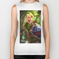legend of zelda Biker Tanks featuring Link - Legend of Zelda by Sanjin Halimic