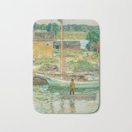 Oyster Sloop, Cos Cob 1902 by Childe Hassam Bath Mat