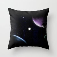 planets Throw Pillows featuring planets! by Darthdaloon