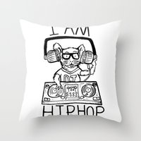 hiphop Throw Pillows featuring I AM HIPHOP  by Geryes
