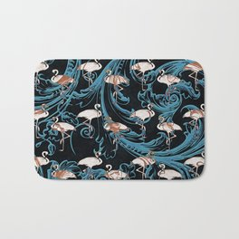 Pink Flamingos Pattern Elegant Baroque Flourish Bath Mat