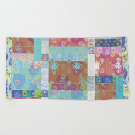 Lotus flower turquoise and apricot stitched patchwork - woodblock print style pattern Beach Towel