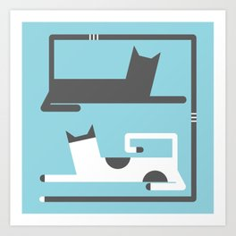CATS IN LOVE - BLUE Art Print