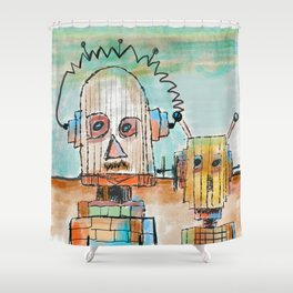 """""""Two Robot Dudes waiting for a Spaceship to go To Thompsonville near the AZ Strip"""" Shower Curtain"""