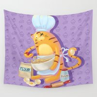 baking Wall Tapestries featuring Baking with Cat: Step Four by MTerrenal