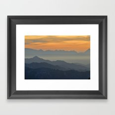 Sunset at the mountains Framed Art Print