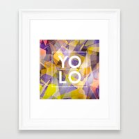 sayings Framed Art Prints featuring Dreams of YOLO Vol.1 by HappyMelvin