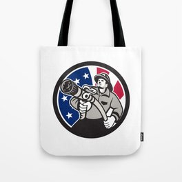 American Fireman USA Flag Icon Tote Bag