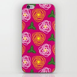 Bright pink floral iPhone Skin