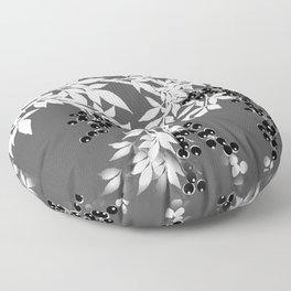 TREE BRANCHES GRAY WHITE WITH BLACK BERRIES Floor Pillow