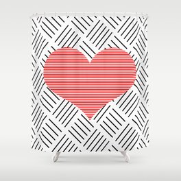 Red heart - Abstract geometric pattern - black and white. Shower Curtain