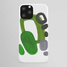 Mid Century Vintage 70's Design Abstract Minimalist Colorful Pop Art Olive Green Dark Green Grey iPhone Case