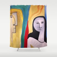 friendship Shower Curtains featuring friendship by Shahadjef
