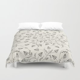 Beautiful herbs. Black and white pattern . Duvet Cover
