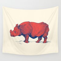 rhino Wall Tapestries featuring Red Rhino by Andrew Henry