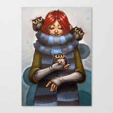 Girl with Owls Canvas Print