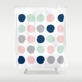 Minimal painted dots gender neutral home decor minimalist nursery baby polka dots Shower Curtain