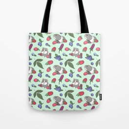 Guinea Pig Pattern in Mint Green Background with mix berries Tote Bag