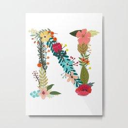 Monogram Letter N Metal Print