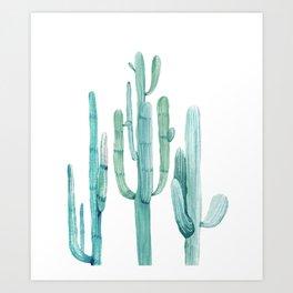 Cacti Fam Turquoise Art Print
