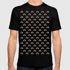 Pixel Rainbow Pattern MEDIUM Black Mens Fitted Tee