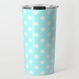 Small Polka Dots - White on Celeste Cyan Travel Mug
